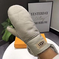 UGG Winter Newest Popular Women Leather Wool Warm Gloves Grey I/A
