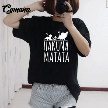 CGmana Hakuna Matata Printed T-shirt 2018 Hot Summer Homme Lion King T-Shirt Harajuku T Shirt Women Tops Tees Female Funny Tees