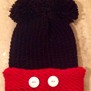 Mickey Mouse Inspired Childs Teen Adult Knitted Winter Hat