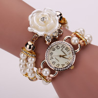 Watch Stylish Korean Pearls Floral Bracelet Watch [6050441409]