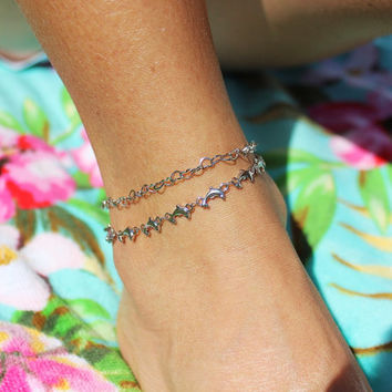 Dolphin Silver Anklet, Summer Ankle Bracelet, Beach Anklets, Dolphin Jewelry,Sea Jewelry, Summer Fashion, Unique Gift, Body Jewelry