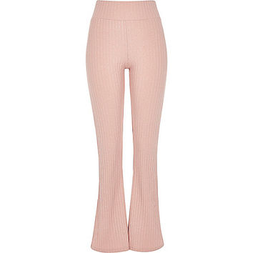 Pink ribbed flare leggings - flares - trousers - women