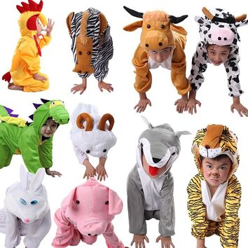Halloween Children Kids Cartoon Animal Costumes Cosplay Clothing Dinosaur Tiger Elephant Gift Animals Jumpsuit for Boy Girl