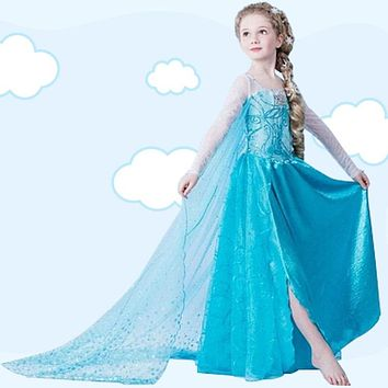 Kids New Girls Dress Summer Princess Party Dress Cartoon Children Cosplay Dress Girls Long Elsa Dress Snow Queen Fancy Costumes