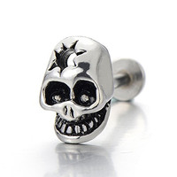Mens Women Stainless Steel Skull Lip Stud Ring Piercing Bar Chin Tragus Body Jewelry
