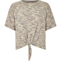 River Island Womens Natural marl patterned knot front t-shirt