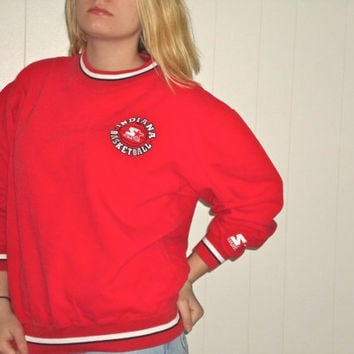90s Indiana University Hoosier Basketball Crewneck Sweatshirt, Red 1990s IU Pullover Sweater