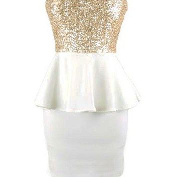 Strapless Sequin Dress - Kely Clothing