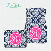 Personalized Car Floor Mats- Damask