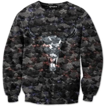 Water Color Skull Crewneck