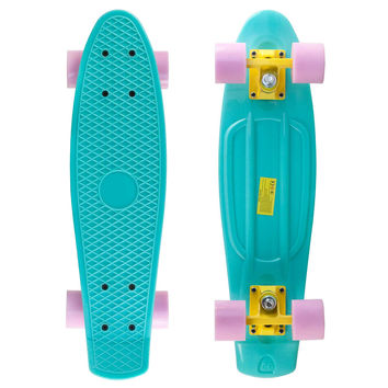 Pastel Blue Penny Style Cruiser Board 22 inch Plastic Skateboard Complete