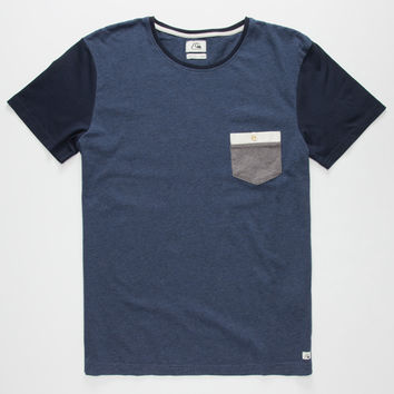 Quiksilver Bay Sic Mens Pocket Tee Navy  In Sizes