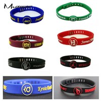 New Silicone Wristband Basketball Star Bracelet Adjustable
