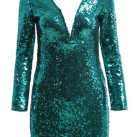 Green Long Sleeve V Neck Sequined Dress - Sheinside.com
