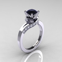 Classic 14K White Gold 1.0 Ct Black and White Diamond Designer Solitaire Ring R259-14KWGDBD