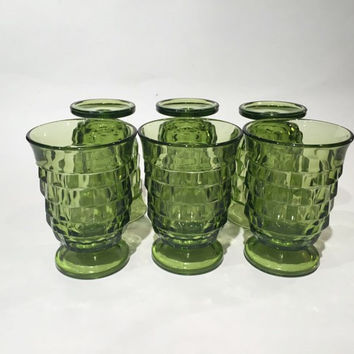 Green Whitehall Colony Glasses Set of 6, 60s Whitehall Colony Green Tumbler Water Glasses Mid-Century Drink Set Vintage Barware Juice Glass