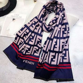 FENDI Fashionable Women Men Jacquard Cashmere Cape Scarf Scarves Shawl Accessories
