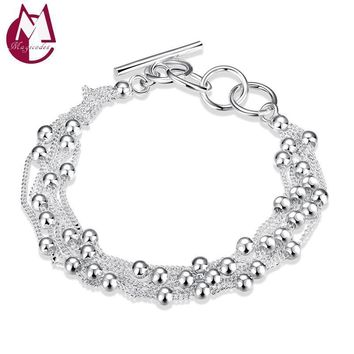 Women Pure 925 Silver Ball And Chain Bracelet