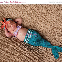 On Sale Mermaid Tail Cocoon, Baby Girl, Headband, Shell Top, Crochet, Photography Prop, 0 to 3 Months