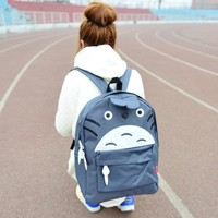 Cute Cartoon Totoro Nylon Backpack Schoolbag Gray From Pomelo