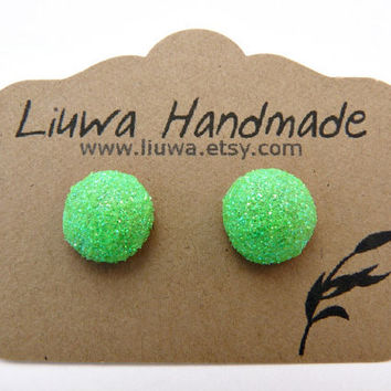 Lime Green Glitter Dot Post Earrings, Polymer Clay Studs, Stainless Surgical Steel Posts