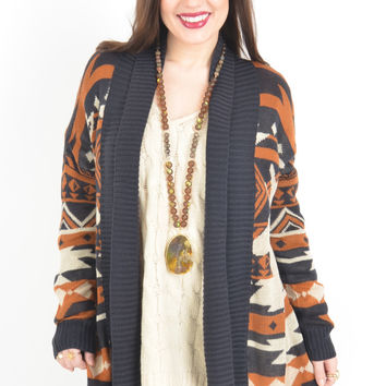Navy, Camel, and Cream Cardigan with Reindeer Pattern