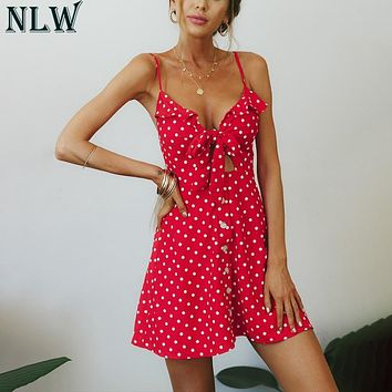 NLW Red Polka Dot Cutout Sexy Short Dress Spaghetti Strap Ruffle Bow Tie Button Up Summer Beach Party Dresses Pink Robe Femme