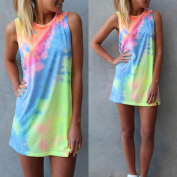 Cool Women Tie Dye Sleeveless Party Casual Mini Dress