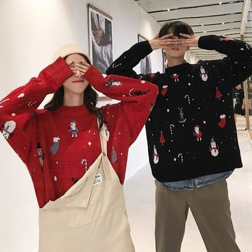 Ugly Christmas Sweater Women Men Winter Plus Size Kawaii Couple Cloth Pullover Long Sleeve Cute Anime Knitted Warm Jumper Tops