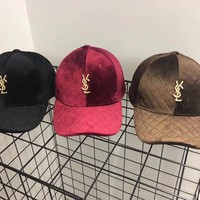 """Yves Saint Laurent YSL"" Unisex Casual Fashion Velvet Letter Logo Flat Cap Baseball Cap Couple Hat"