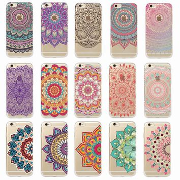 Vintage Indian Floral Henna Mandala Yoga Ethnic Soft Tpu Phone Case Coque Fundas For iPhone 7Plus 7 6Plus 6 6S 5 5S 8 8Plus X