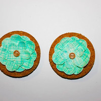 Decorative Blue Flower Cork Magnets - 2 Pack!