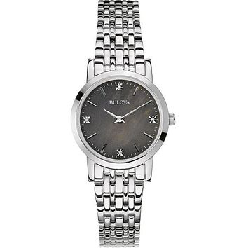 Bulova Ladies Diamond Gallery Watch - Stainless Steel Case - Charcoal Gray Dial