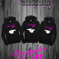 Three Black Cheerleader Hoodie Set