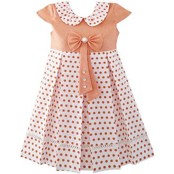 Sunny Fashion Girls Dress Polka Dot School Uniform Bow Tie Pearl Cap Sleeve 2018 Summer Princess Wedding Party Dresses Size 4-14
