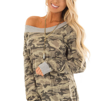 Olive Camo Off the Shoulder Top With Distressed Hem