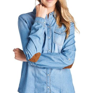 TP180 Denim Chambray Shirt W/Elbow Patch (More color options)
