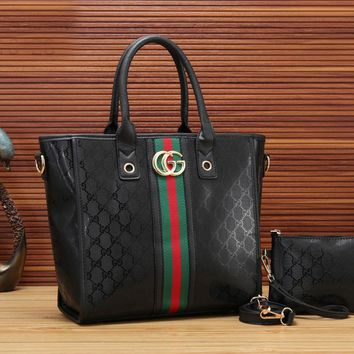 "Hot Sale ""Gucci"" Fashion Women Leather Handbag Tote Shoulder Bag Set Two Piece"