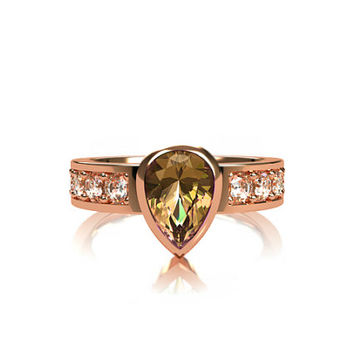 Pear cut imperial topaz, engagement ring, white sapphire ring, bezel engagement, solitaire, gold, peach topaz ring, yellow topaz, collector
