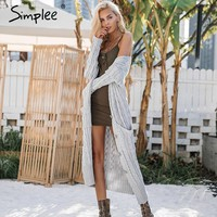 Knitting Long Cardigan Winter Sweater Women Jumper Knitted Cardigan Female Coat Soft White Pocket Sweater Pull Outerwear