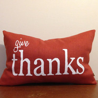 Give Thanks Handpainted Linen Throw Pillow Cushion Cover Thanksgiving Holiday Pillow Decor