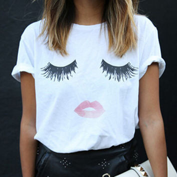 Style Harajuku T Shirt Women Eyelash Lips White Cotton Women T-Shirt Tops Tees Camisas Mujer Loose T Shirt Femme SM6