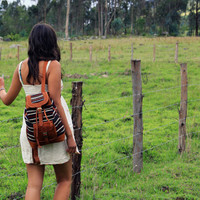Mora. Handmade leather backpack with handwoven wool. Perfect for weekend adventures, school and as a travel day bag.