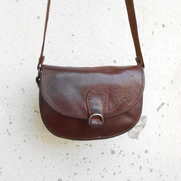 Vintage Leather Bag BREE Mahogany Brown Leather Purse Leather Crossbody Bag / Authentic / Small / Gift for Her