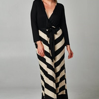 Plus Size Chevron Print Maxi Dress