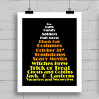 Happy Halloween Candy Corn Word Art Print - Halloween Themed Printable Holiday Home Decor Wall Art (JPG/PDF) 8x10