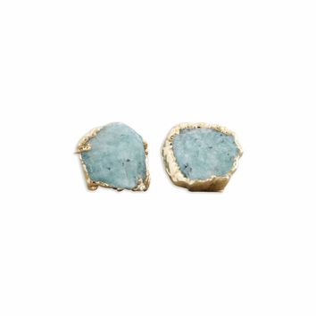 Raw Amazonite 14k Gold Studs
