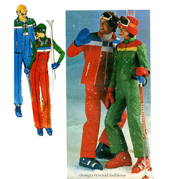 70s WOMEN'S SNOW PANTS Jumpsuit & Jacket Pattern Ski Suit Ski Jacket Pants with Bib Vintage Butterick 5110 Size 10 Bust 32.5 Sewing Patterns