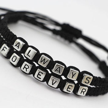 Couples Bracelets Set, His and Hers Bracelets, Always Forever Bracelets, Anniversary Gifts, Bridesmaid Jewelry, Friendship Graduation Gifts (Color: Black) = 1930185988