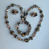 Magnificent Signed VENDOME Vintage Venetian Glass & Swarovski Crystal Bead 3 Piece Necklace, Bracelet, Earrings Set